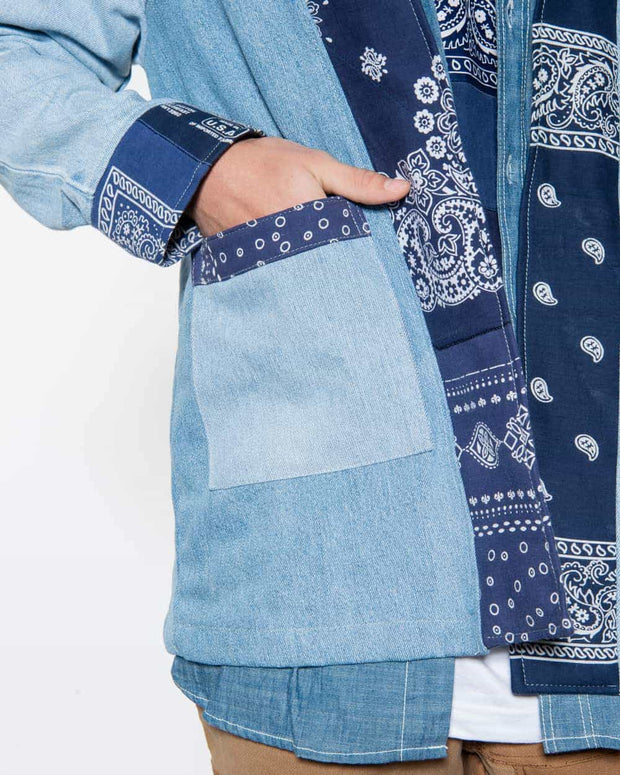 Noragi Light Vintage Denim • Patchwork Blue Bandanas