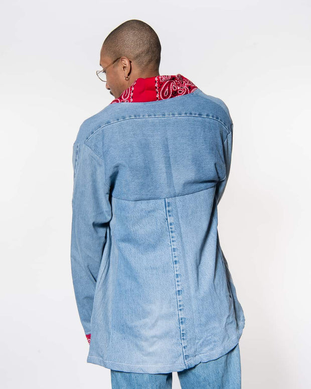 Noragi Light Vintage Denim • Patchwork Red Bandanas