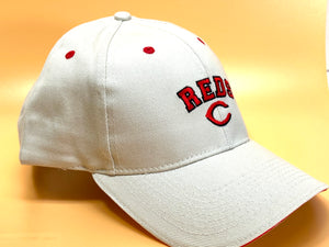 "Cincinnati Reds Vintage MLB Cream ""Block Reds"" Cap (New) By Drew Pearson"