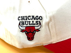"Chicago Bulls Vintage NBA White ""Basketball"" Cap (New) By Annco"
