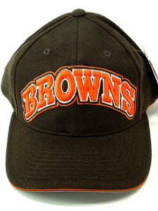 "Cleveland Browns Vintage NFL 20% Wool Block ""BROWNS"" Cap (New) By American Needle"