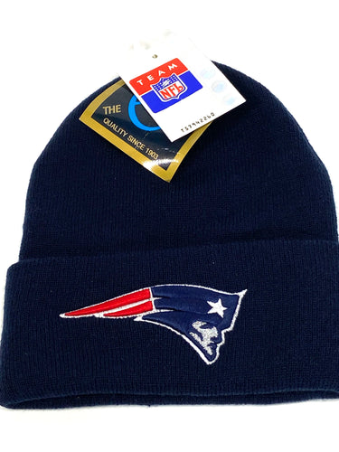 New England Patriots Vintage NFL Cuffed Blue Knit Logo Hat (New) By G Knit Cap Company