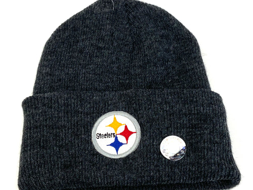 Pittsburgh Steelers Vintage NFL Dark Gray Cuffed Logo Knit Hat (New) By Rossmor Industries
