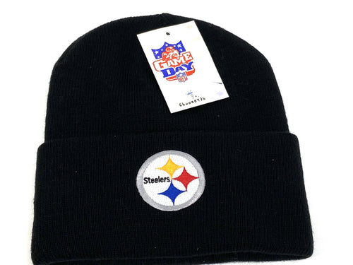 Pittsburgh Steelers Vintage NFL Black Cuffed Logo Knit Hat (New) By Rossmor Industries