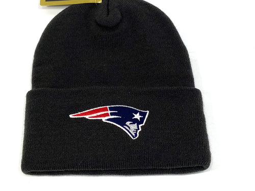 New England Patriots Vintage NFL Black Cuffed Logo Knit Hat (New) By G Knit Cap Company