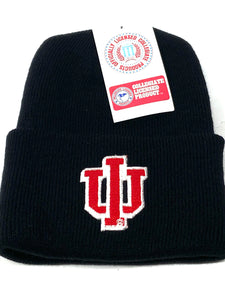Indiana Hoosiers Vintage NCAA Embroidered Black Knit Hat (New) By Rossmor Ind.