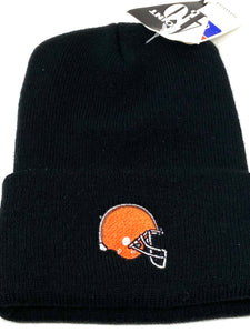 Cleveland Browns Vintage NFL Black Cuffed Knit Logo Hat (New) By 4Point0
