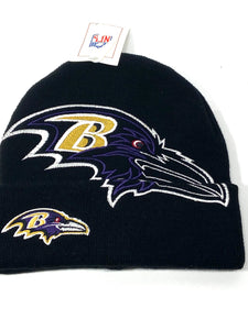 Baltimore Ravens Vintage 2000 NFL Oversize Logo Cuffed Black Knit Hat (New) By NFL