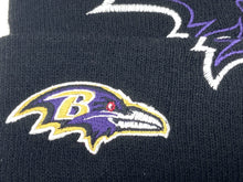 Load image into Gallery viewer, Baltimore Ravens Vintage 2000 NFL Oversize Logo Cuffed Black Knit Hat (New) By NFL