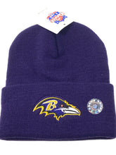 Load image into Gallery viewer, Baltimore Ravens Vintage NFL Purple Cuffed Logo Knit Hat (New) By Rossmor Industries