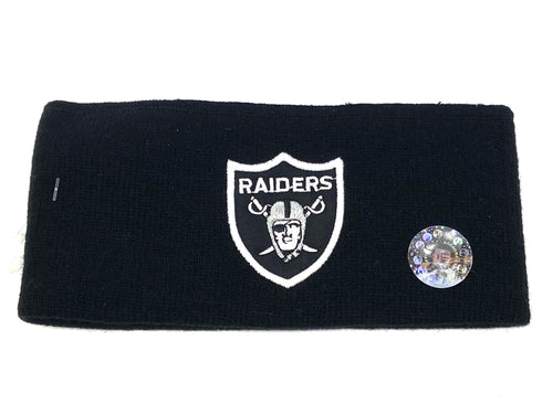 Oakland Raiders Vintage NFL Black Headband (New) By Rossmor Industries