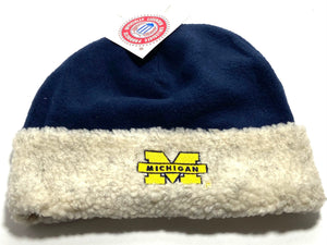 University of Michigan Wolverines Vintage NCAA Cuffed Fleece Hat (New) By Drew Pearson Marketing