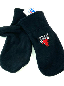 Chicago Bulls Vintage NBA Adult Black Fleece Mittens (New) By Drew Pearson Marketing