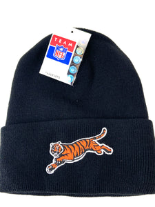 Cincinnati Bengals Vintage NFL Black Cuffed Acrylic Knit Hat (New) By Rossmor Industries