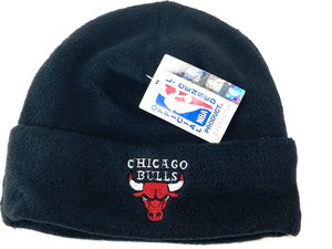 Chicago Bulls Vintage NBA Cuffed Black Fleece Hat (New) By Drew Pearson Marketing