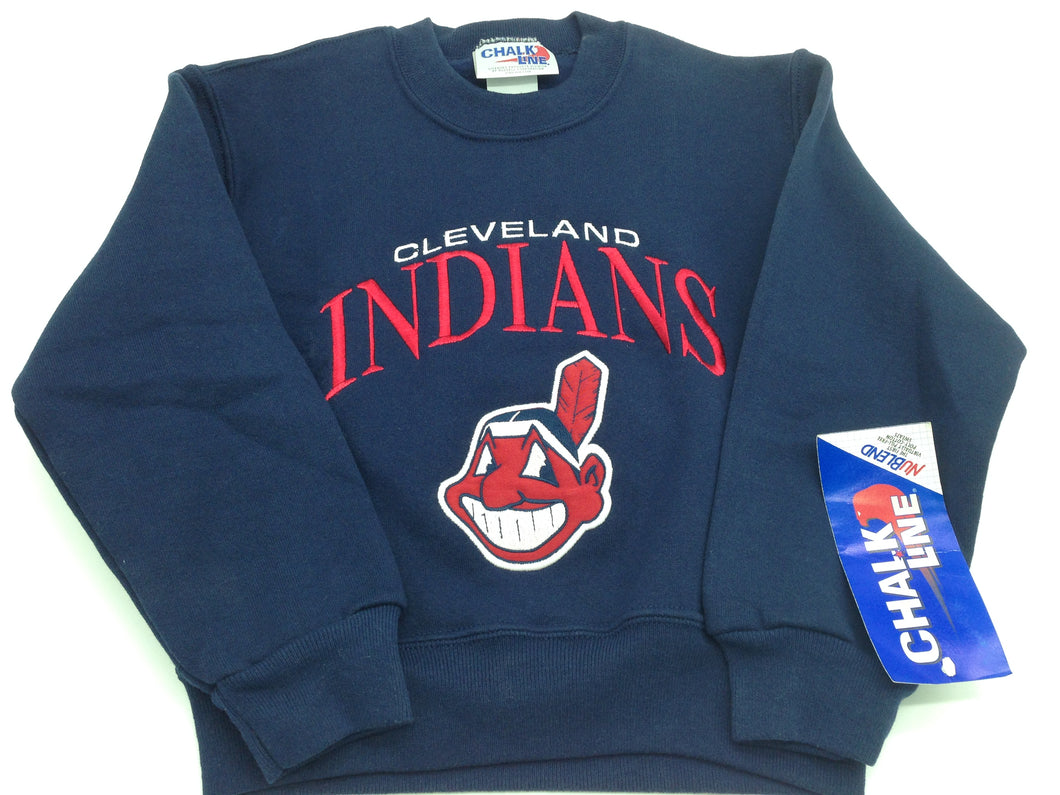 Cleveland Indians Vintage MLB Youth Embroidered Sweatshirt by Chalkline