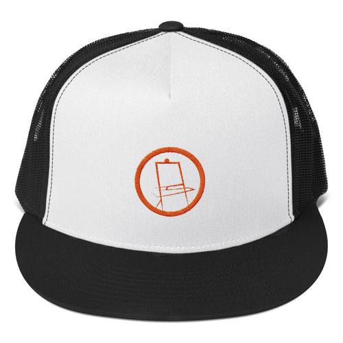 Orange Easel Embroidered Trucker Cap