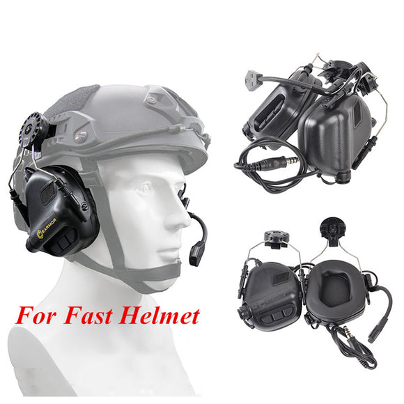 OPSMEN Earmor Tactical Headset M32H Noise Canceling Headphone with Helmet Rail Adapter Set