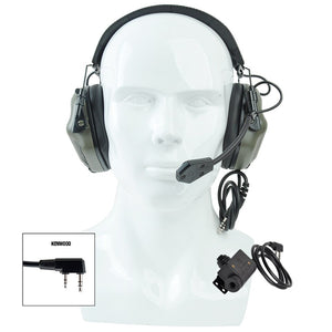 Tactical Headset & PTT Set for Noise Canceling Headphones Military Aviation Shooting