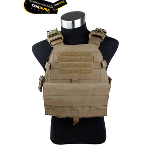 TMC Tactical Vest Matte Plate Carrier Coyote Brown Non Reflective Cordura Without EVA Panel