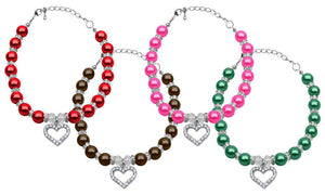 Heart and Pearl Necklace for Malta Chow Chow French Bulldog