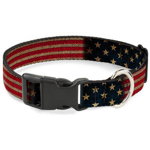 Buckle-Down Vintage US Flag Pet Collar - Medium