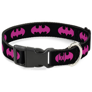 Buckle-Down Batman Signal Fuchsia Pet Collar