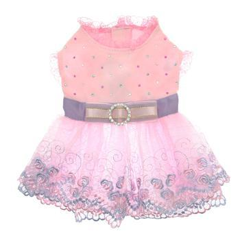 Kaelyn Party Dog Dress - Pink malta, french bulldog, chow chow