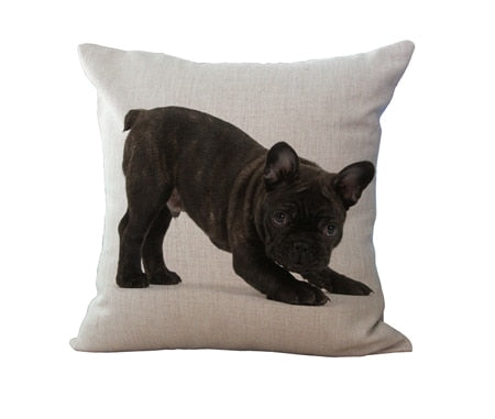 "Miracille 18"" Cotton Linen French Bulldog Digital Print Square Decorative Throw Pillow Cushions"