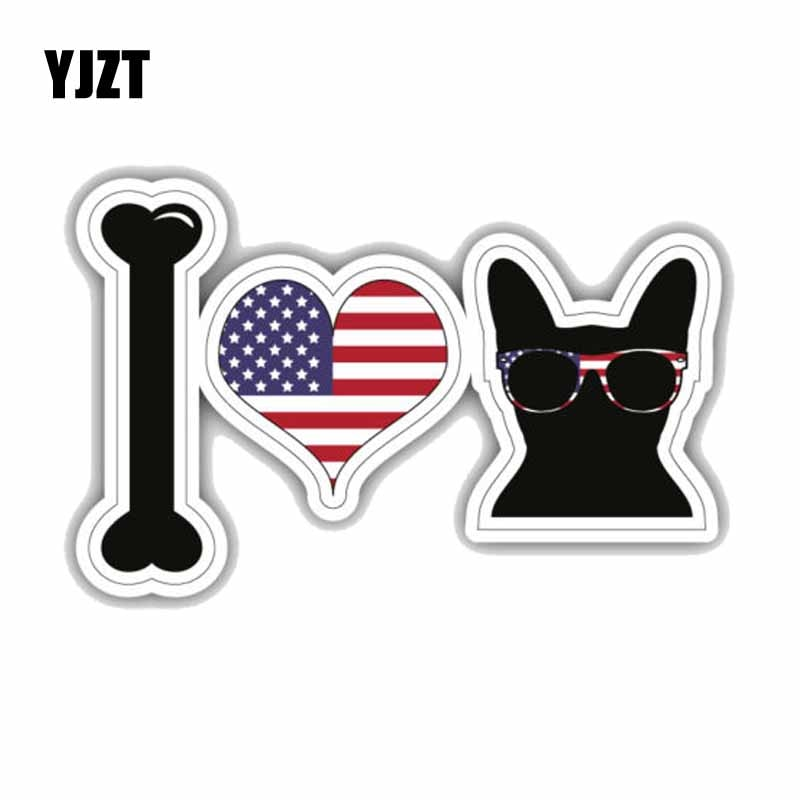I Love French Bulldog USA Flag Car Decoration Car Sticker