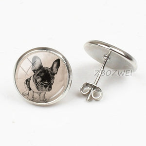 Colorful Dog Earrings French Bulldog Art Picture