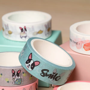 2 pcs/pack Smile French Bulldog Adhesive Tape for DIY Scrapbooking