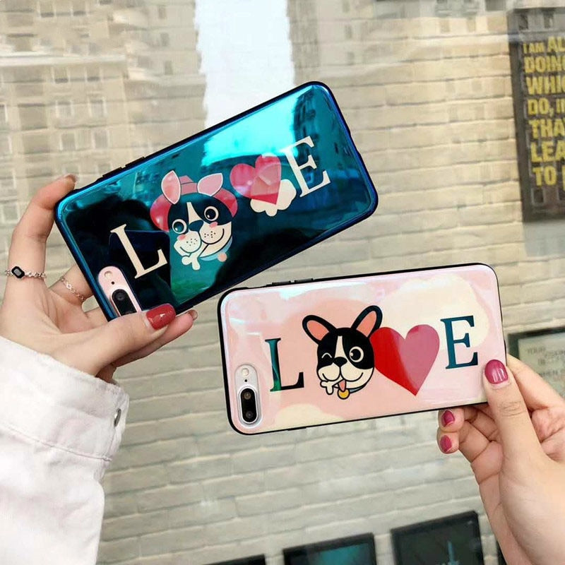 Cartoon French Bulldog Mirror Case for iPhone X 10 & iPhone 7 8 6 6S Plus