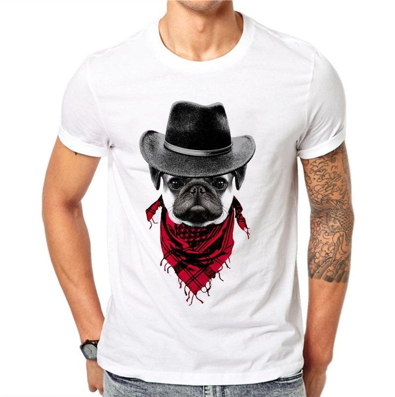 Short Sleeve Pug Printed T Shirt
