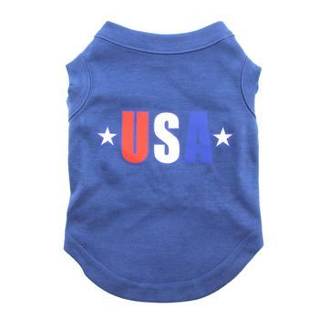 USA Star Screen Print Dog Tank - Blue