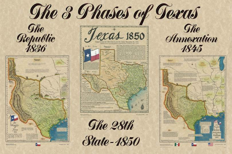 Large Map Of Texas.Large Republic Of Texas 1836 Map Texas Statehood 1845 Map Texas 1850 Map Texana Print