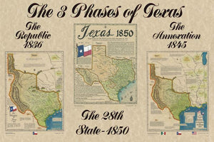 Large Republic of Texas 1836 Map Texas Statehood 1845 Map Texas 1850 Map Texana Print