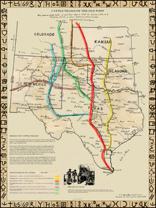 CATTLE TRAILS OF THE OLD WEST MAP