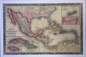 LARGE OLD MAP REPRODUCTION OF MEXICO, CENTRAL AMERICA, WEST INDIES, BERMUDA CARIBBEAN, CUBA, PANAMA WITH RAILROAD, TEXAS, NEW MEXICO AND MORE