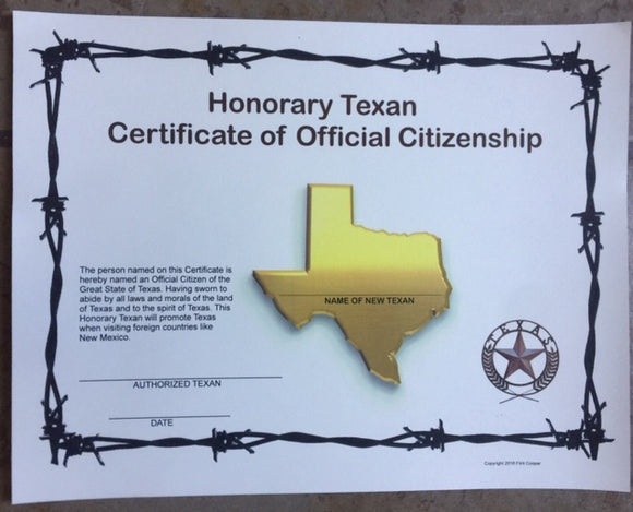 HONORARY TEXAN CERTIFICATE OF OFFICIAL CITIZENSHIP