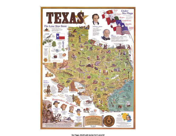 LARGE ANIMATED TEXAS MAP WITH MANY ILLUSTRATIONS MODERN PRINT