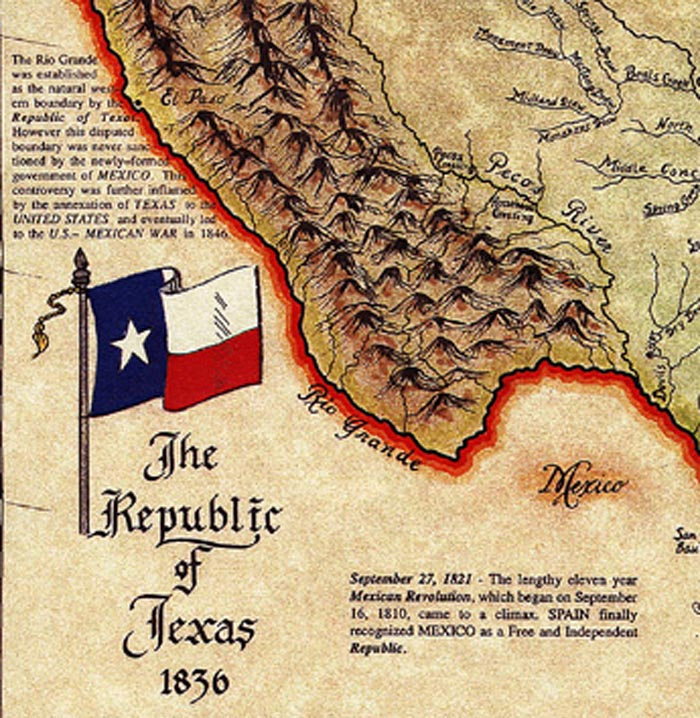 Map Of Texas 1836.Texana Republic Of Texas 1836 Map