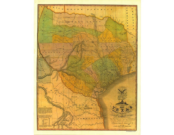Republic of Texas Map of Stephen F. Austin's 13 Colonies 1836