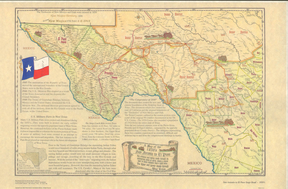 Mexico Map 1850.San Antonio To El Paso Stage Road Map 1850 Www Trulytexas Com