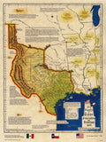 Republic of Texas Annexation and Statehood Map 1845