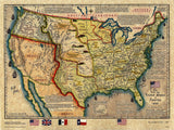 United States of America Map 1845