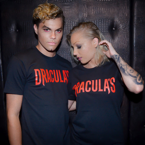 Dracula's Ladies White Scratched Logo T-Shirt