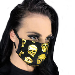 Gold Skull Washable Cloth Face Mask