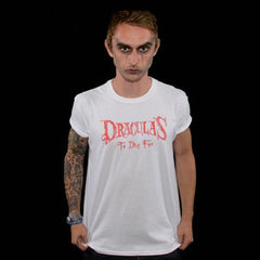 Dracula's White Scratched Logo T-Shirt