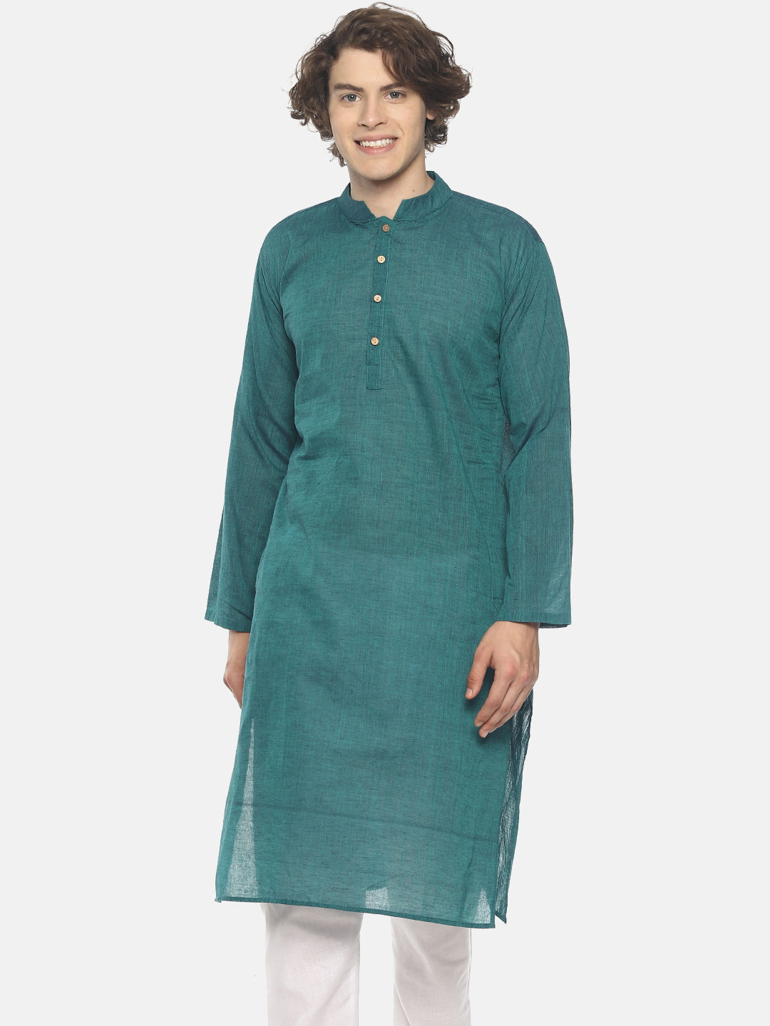 PAROKSH Men solid peacock blue cotton Straight Kurta